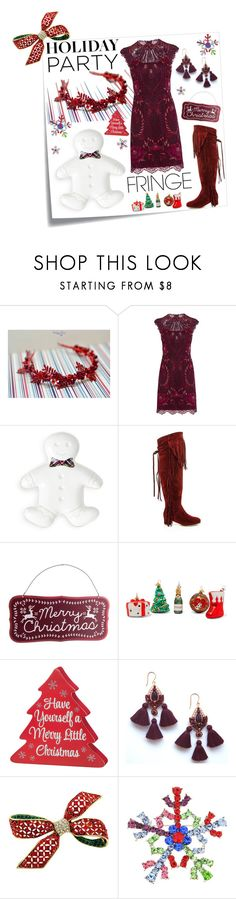 """""""Christmas party"""" by vualia ❤ liked on Polyvore featuring Post-It, Karen Millen, Juliska, Lady Godiva, Bombki, Christmas, fringe, holidaylook, redfringe and Christmascrown"""