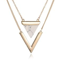 Gold Plated Punk Necklaces Geometric Triangle Faux Marble Stone Necklace Vintage Jewelry
