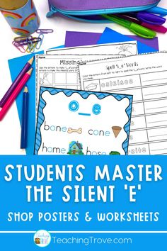 Silent e (bossy e or magic e) is reinforced in this pack. Perfect for word work, it contains posters and worksheets to help your students master the silent e rule in their spelling and reading. Whether you use the term 'magic e', 'bossy e' or 'silent e', you will find a poster that shows the rule. The worksheets are perfect to use in the classroom or send home for homework, distance learning or at home learning.