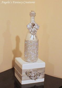 Decorative Bottles : Angela's Fantasy Creations Photos, Event Rentals & Photobooths … -Read More – Glass Bottle Crafts, Diy Bottle, Bottle Art, Glitter Champagne Bottles, Bling Bottles, Champagne Glasses, Alcohol Bottles, Bottles And Jars, Glass Bottles