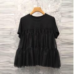 Women O Neck Street T Shirt Female Fashion Mesh Stitching T-Shirt Short-Sleeved Casual T-Shirt Cheap T Shirts, Casual T Shirts, Ruffle Shorts, Casual Tops For Women, Fashion Outfits, Fashion Clothes, Female Fashion, Womens Fashion, Ruffles