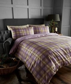 100 brushed cotton arran heather purple tartan check king size duvet cover set in home
