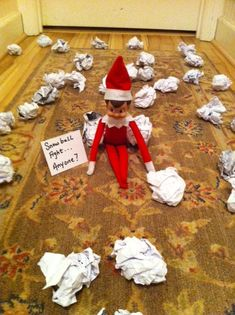 Fantastic Elf On The Shelf Ideas You Need To Try · The Inspiration Edit Snow Ball FIght! He even came into the bedroom and left snow balls in the bed and on the floor. Crumbled paper - so easy! on the shelf ideas easy Noel Christmas, Christmas Elf, All Things Christmas, Christmas Crafts, Christmas Decorations, Funny Christmas, Christmas Quotes, Der Elf, Awesome Elf On The Shelf Ideas