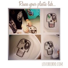 Getting ready for el Dia De Los Muertos with this awesome idea. Reuse your plastic lids! Make any drawing with permanent markers and have your kids use washable markers, wipe off with a napkin when done and color it again until they're happy with their masterpiece. The possibilities are endless. My 2.5 year old loves this activity.