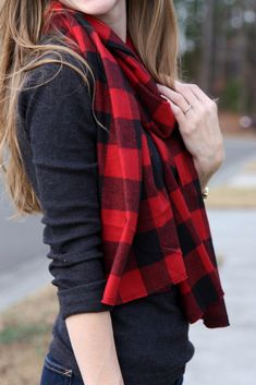 Buffalo Plaid Scarf. An Easy DIY project for under $5 (great as a gift or to make for yourself!)