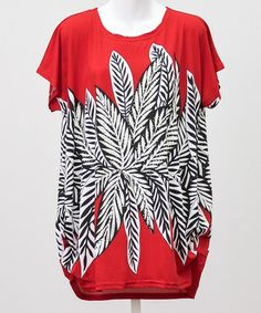 Look what I found on #zulily! Red & Black Leaves Ruched-Side Tunic #zulilyfinds