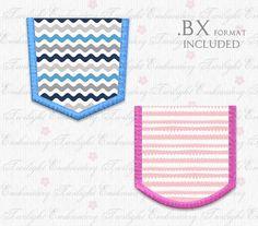 Pocket Applique Machine Embroidery Design - 7 SIZES - Instant Download. DST , EXP , HUS , JEF , PES , VIP , VP3 , XXX and BX