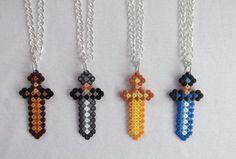 minecraft perler bead necklaces - Google Search