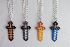 minecraft perler bead necklaces - Google Search