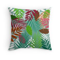"""""""Leaves Jungle"""" Throw Pillows by Catoutline 