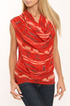 Printed Cowl Neck Top in Red. Need to make this but in a different color/fabric.