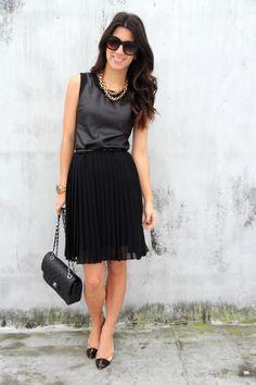 Sassy Grey silk top, Black short skirt, upscale day glamour. I enjoy this look.