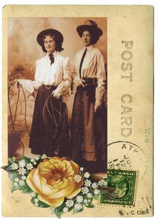 Cowgirl Friends Yellow Rose Vintage Photo Postcard T-Shirt Tee  | DesignsByCClair - Clothing on ArtFire