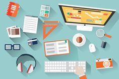 Check out Flat Design Office Desk by Blue Lela Illustrations on Creative Market