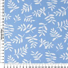 White Leaves On Blue Cotton Home Dec Fabric One Yard 44 Inch Home Decor Fabric