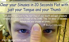 Sinus Remedies Sinus Pressure Relief - How to use pressure points to relieve sinus pressure and drain sinuses quickly to relieve sinus pain. Apply gentle pressure to these pressure points to clear sinuses any time of day or night! Sinus Pressure Relief, Sinus Headache Relief, Relieve Sinus Pressure, Natural Headache Remedies, Tension Headache, Instant Headache Relief, Relieve Sinus Headache, Headache Relief Pressure Points, Sinus Massage