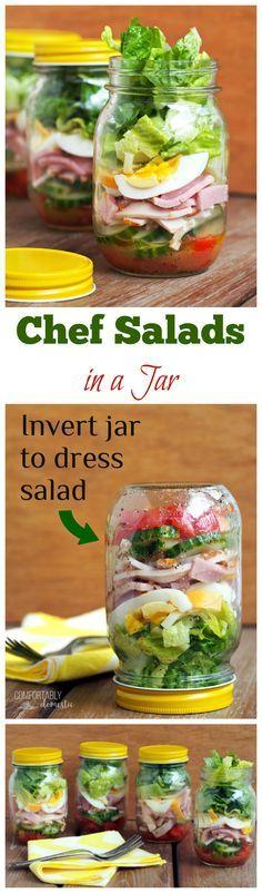 Chef-Salad-in-a-Jar are crisp romaine lettuce, fresh vegetables, ham, turkey, egg, cheese,