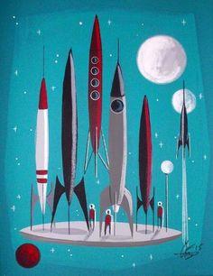 Space ship rocket sci-fi atomic future mid century modern art, m Retro Kunst, Retro Art, Vintage Space, Vintage Design, Vintage Toys, Mid Century Modern Art, Mid Century Art, Space Girl, Space Age