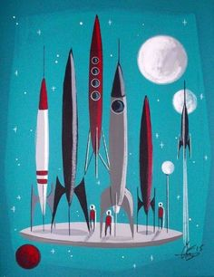 EL GATO GOMEZ PAINTING RETRO 1960S OUTER SPACE SHIP ROCKET SCI-FI ATOMIC FUTURE #Modernism
