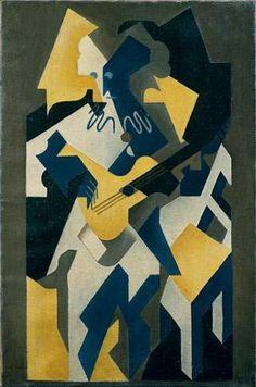 Harlequin with Guitar - Juan Gris - The Athenaeum Cubist Drawing, Cubist Art, Abstract Art, Spanish Painters, Spanish Artists, Henri Matisse, Pablo Picasso, Modern Art, Contemporary Art