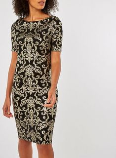 Black Baroque Foil Print Bodycon Dress - View All Clothing - Clothing - Dorothy Perkins Latest Fashion Dresses, Latest Dress, Baroque, Dress Styles, Short Sleeve Dresses, Bodycon Dress, Clothing, Model, How To Wear