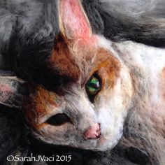 Needle-felted wool painting cat portrait