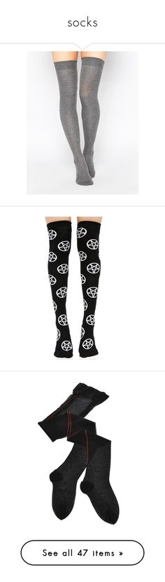 """socks"" by stopcallinme ❤ liked on Polyvore featuring intimates, hosiery, socks, tights, accessories, stockings, grey, overknee socks, grey thigh high socks and above knee socks"