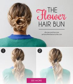 Get excited about spring with this easy flower hair bun tutorial. #HairTutorial #HairBun