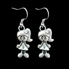 antique silver plated zamac earrings