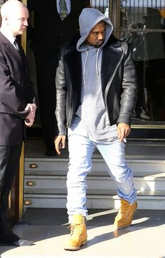 Kanye in A.P.C. Leather biker jacket with shearling lapels I would kill for this jacket!!