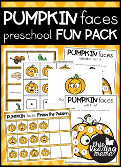 Pumpkin Preschool Pack - This Reading Mama Summer Preschool Activities, Kindergarten Themes, Autumn Activities For Kids, Preschool At Home, Preschool Printables, Preschool Learning, Learning Activities, Toddler Learning, Toddler Activities