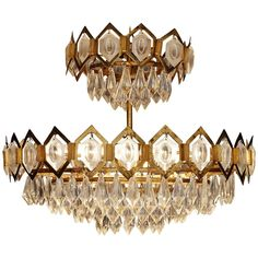 Crystal Glass and Brass Chandelier  | From a unique collection of antique and modern chandeliers and pendants at https://www.1stdibs.com/furniture/lighting/chandeliers-pendant-lights/