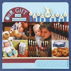 Candle Punches Hanukkah Scrapbook Page