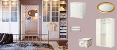 PAX white wardrobe with BIRKELAND white doors with glass panels and BIRKELAND chest of drawers