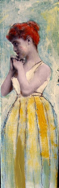 Belle tall girl original vintage inspired painting on wood
