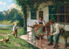 Karl Emil Rau 'One summer day in front of the house' First Day Of Summer, Summer Days, A4 Poster, Poster Prints, Vintage Artwork, Classic Artwork, Artist Art, House Painting, Belle Photo