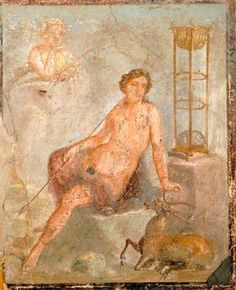 *POMPEII, ITALY ~ A young Cyparissus, fresco from the House of the Vettii, Pompeii (UNESCO World Heritage List, 1997), Campania. Roman Civilization, 1st Century.