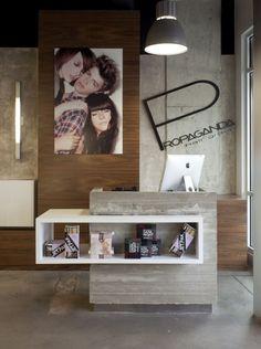 sleek/industrial front desk