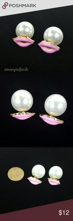 Pink Kiss Lips Double Sided Pearl Earrings Pink Kiss Lips Double Sided Pearl Earrings. New on card. Pearl and metal. Third photo for size reference.   Please let me know if you have any questions. Happy Poshing! Mary Stefanik  Jewelry Earrings