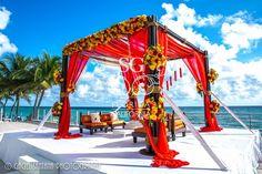 Marriott Harbour Beach, Fusion Mandap, Shades of Pink, Shades of Orange, Shades of Mustard, Suhaag Garden, Florida Indian Wedding Decorator, Decoration Vendors, Mandap, Gujurati Wedding, Outdoor Ceremony, Marigold Garlands, South Indian Wedding, Bamboo Mandap