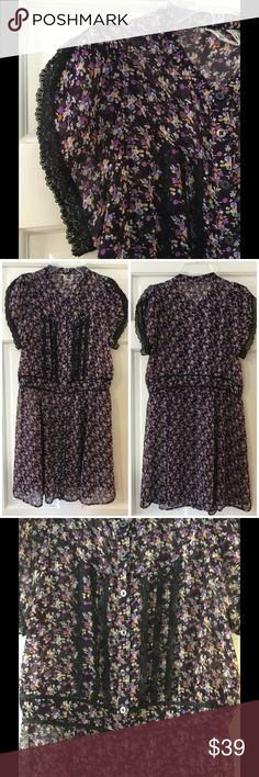 "Free People sheer floral dress lace trim Sweet purple floral print FP button down dress with black lace detail. Dress is sheer; slip not included. 100% polyester. Machine wash.  Underarm across 17"". Length 33"". Excellent condition. EUC. Free People Dresses"