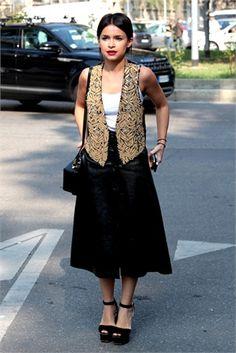 Miroslava Duma Voguistas from Milan Fashion Week SS2014 - Photo by Stefano Coletti #miraduma #miroslavaduma