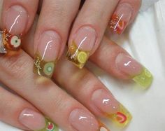 Steps to learn how to put on false acrylic nails. All these designs I want to try on my fingers artificial nails Crazy Nails, Fancy Nails, Diy Nails, Cute Nails, Pretty Nails, Manicure, Nail Nail, Ongles Roses Clairs, Fruit Nail Art