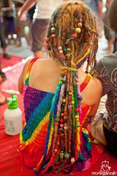 Colorful beaded dreads