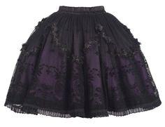 Jupe violette soignée avec motifs vintages aristocrates noirs LQ-057 > JapanAttitude - Lentilles et perruques de cosplay, vêtement gothique,...
