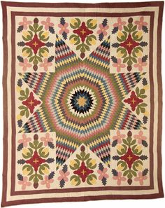 Star of Bethlehem, 1920 Unknown, Peshawbestown, Michigan, Native American quilt 63X78""