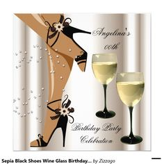 Sepia Black Shoes Wine Glass Birthday Party Invitation