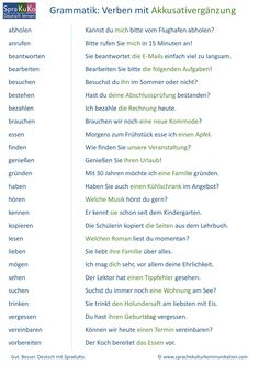 Verbs List verbs with accusative German Grammar, German Words, Learn English Words, English Phrases, Study German, German English, Learn German, Verben Mit Akkusativ, English Grammar
