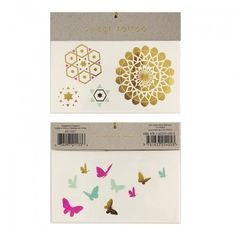 Butterfly Pattern Temporary Tattoos | 2 ct