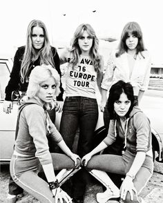 The Runaways - Lita Ford, Sandy West, Jackie Fox, Joan Jett, and Cherie Currie, 1976